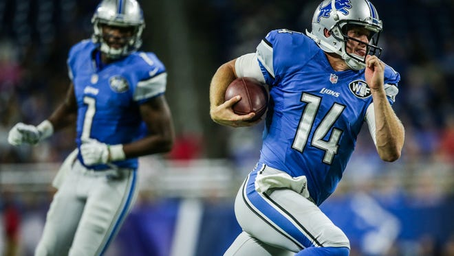 Detroit Lions QB Jake Rudock runs the ball against the Buffalo Bills during a preseason game at Ford Field in Detroit on Thursday, September 1, 2016.
