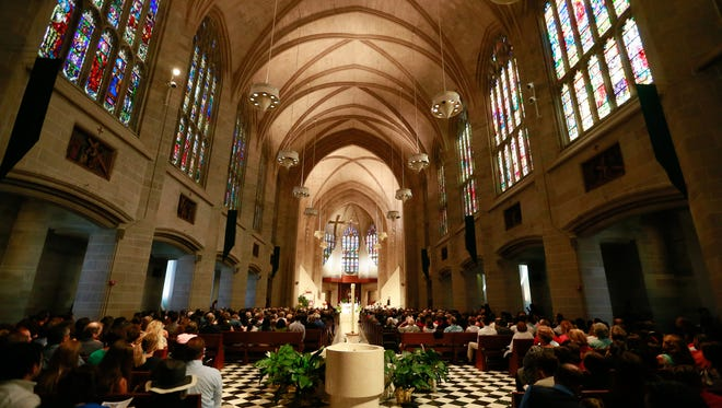The Archdiocese of Detroit says an allegation of sexual abuse of a minor by a now-deceased priest who served throughout the Detroit area is credible. File photo of the Cathedral of the Most Blessed Sacrament in Detroit on Sunday, Sept. 4th, 2016.