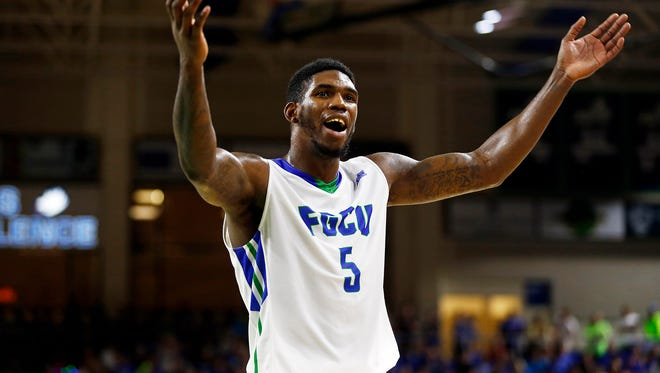 Florida Gulf Coast Eagles guard Jamail Jones (5) pumps up the crowd during the first half Thursday, March 5, 2015 at Alico Arena in Fort Myers, Fla. The FGCU Eagles took on USC Upstate Spartans during the semifinal Atlantic Sun Men's Basketball Championship tournament.