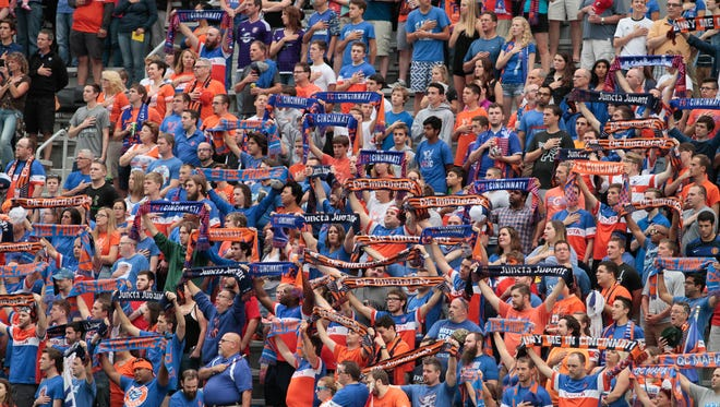 The Cincinnati crowd in the Bailey is ready for some action.  FC Cincinnati set yet another USL attendance record with 24,376 fans in the seats for the last regular season home game.  FC Cincinnati takes on Orlando City B with a possible home playoff game on the line for Cincinnati.  Match was played on Saturday night, September 17, 2016 at Nippert Stadium.