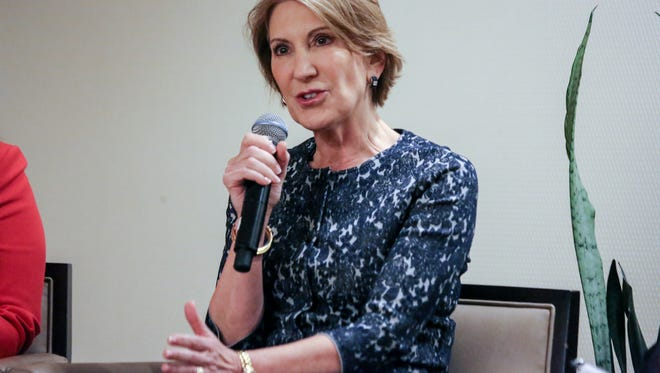 Former GOP presidential candidate Carly Fiorina speaks to a panel of Republican women at the Sheraton hotel in Novi on Monday, Sept. 19, 2016.