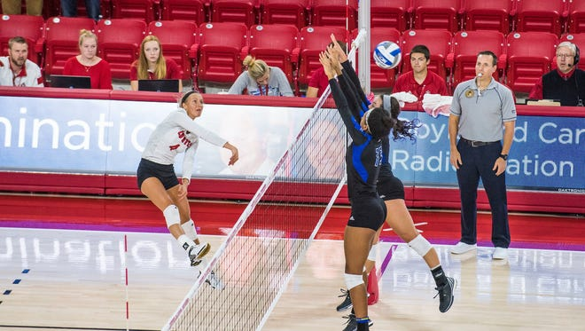 Audrey Reeg leads the 11-2 Coyotes in kills has the team heads into the Summit League part of the season.