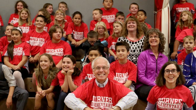 Dr. Bud Pierce and Gov. Kate Brown, the Oregon candidates for governor, meet for a joint appearance to answer students' questions at Turner Elementary School in Turner on Tuesday, Sept. 20, 2016.