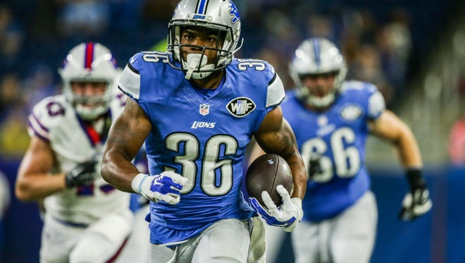 Detroit Lions RB Dwayne Washington runs for a touchdown against the Buffalo Bills on Sept. 1, 2016.