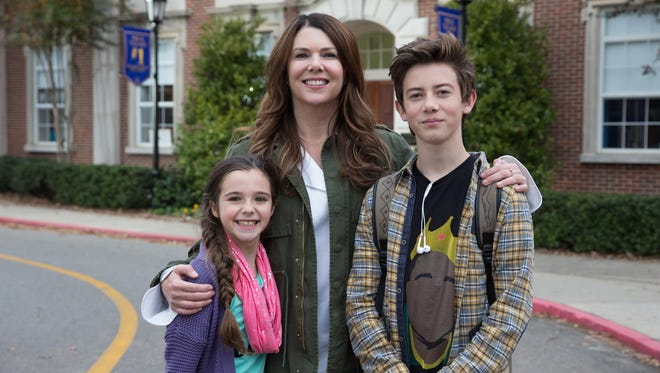 "Alexa Nisenson, left, Lauren Graham and Griffin Gluck in ""Middle School: The Worst Years of My Life."""