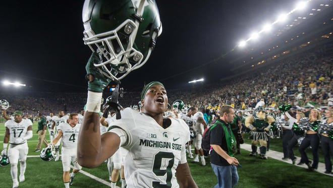 Michigan State wide receiver Donnie Corley (9) celebrates after MSU defeated the Notre Dame Fighting Irish, 36-28, at Notre Dame Stadium on Sept. 17.