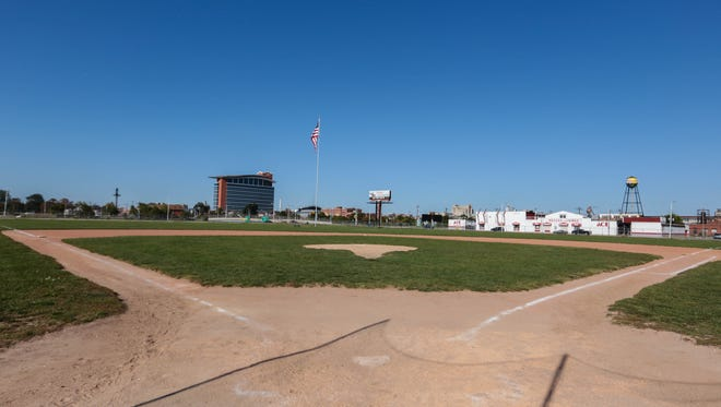 A photo of the diamond at the former Tigers Stadium at the corner of Michigan and Trumbull St. in Detroit is seen on Tuesday September 24, 2013. Ryan Garza / Detroit Free Press