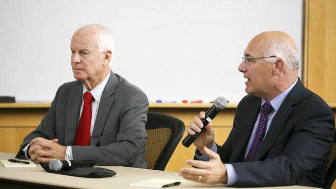 Brad Avakian, right, and Dennis Richardson, left, candidates for secretary of state, talk to the Statesman Journal.