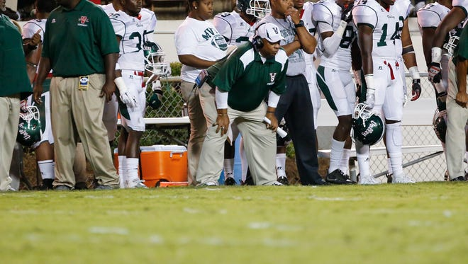Former Jackson State coach and MVSU coach Rick Comegy watches from the sidelines.