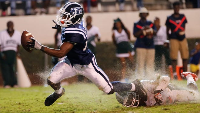 JSU running back Jordan Johnson is tripped up before reaching the end zone just before the end of the first half.