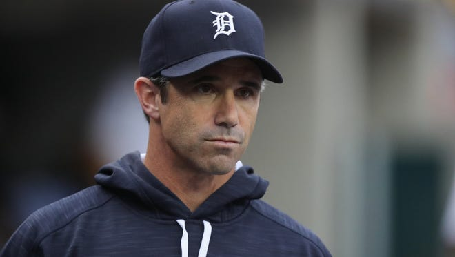 Detroit Tigers manager Brad Ausmus in the dugout at Comerica Park in Detroit in June.