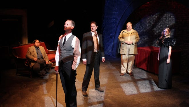 "Aral Gribble, Mark Colson, John Lepard, Joe Bailey and Alysia Kolascz in ""Pulp"" by Joseph Zettelmaier at the Williamston Theatre."