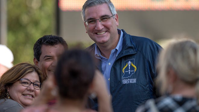 Eric Holcomb, the Republican candidate for Indiana governor, greets audience members after the Hoosier Homecoming bicentennial celebration at the Indiana Statehouse in Indianapolis, Oct. 15, 2016.