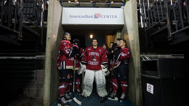The Ice Ray's wait to take the ice before their game against  Shreveport at the American Bank Center on Thursday, Oct. 27, 2016.