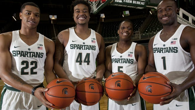 From left to right, freshmen Miles Bridges, Nick Ward, Cassius Winston and Joshua Langford are all expected to play massive roles on this year's MSU basketball team. Together they make up the most decorated recruiting class of the Tom Izzo era.