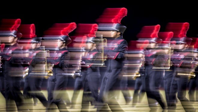 The Mesa Red Mountain marching band performs on Friday, Nov. 4, 2016 in Mesa, Arizona.
