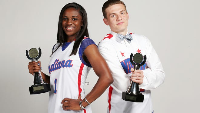 2016 IndyStar Indiana Miss Basketball Jackie Young and 2016 IndyStar Indiana Mr. Basketball Kyle Guy were honored at the 2016 IndyStar Indiana High School Sports Awards.