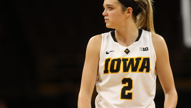 Iowa's Ally Disterhoft waits for play to resume during the Hawkeyes' game against Oral Roberts at Carver-Hawkeye Arena on Friday, Nov. 11, 2016.