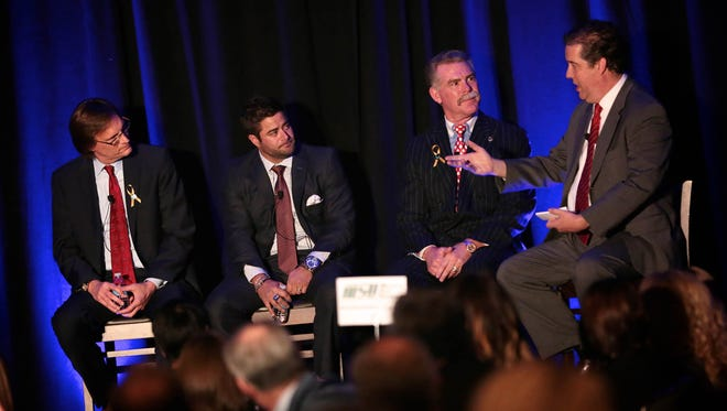 From left, panelists Dan Elsea, president of brokerage services at Real Estate One, Zach Hart, owner and regional director of Zach Hart Agency, Richard James, President and CEO of Financial Services of America, and Christopher Kirkpatrick, Detroit Free Press Senior News Director, during the 2016 Detroit Free Press Top Workplaces awards on Tuesday, November 15, 2016, at the Detroit Marriott in Troy.