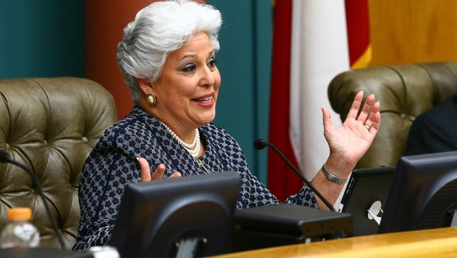 Outgoing Mayor Nelda Martinez gives a farewell statement during the City Council meeting Tuesday, Nov. 15, 2016.
