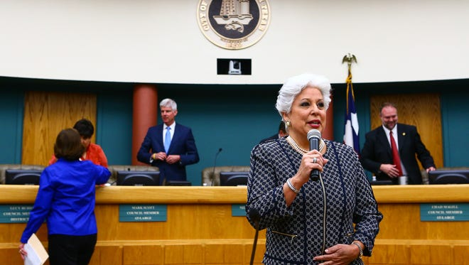 Mayor Nelda Martinez addresses her last City Council meeting Tuesday, Nov. 15, 2016, in the council's chambers.