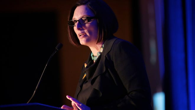 Winner of the Top Workplaces Leadership award, April Clobes, CEO of MSU Federal Credit Union, speaks at the 2016 Detroit Free Press Top Workplaces awards on Tuesday, November 15, 2016, at the Detroit Marriott d in Troy.