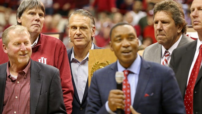 The Hoosiers 1981 championship team is honored at half time between the Indiana Hoosiers and the North Carolina Tar Heels at Assembly Hall, Bloomington, Ind., Wednesday, Nov. 30, 2016.