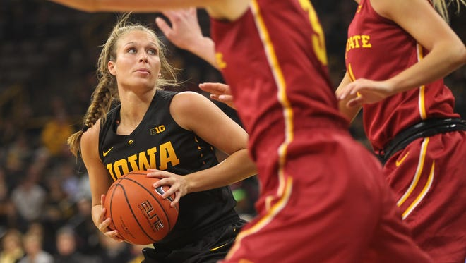 Iowa's Makenzie Meyer looks for an open shot during the Hawkeyes' game against Iowa State at Carver-Hawkeye Arena on Wednesday, Dec. 7, 2016.