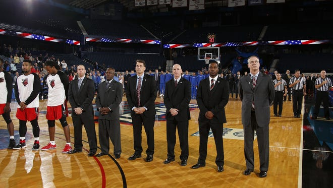 Rutgers basketball's coaching staff, from left to right: Bryan Dougher, Karl Hobbs, Steve Hayn, Jay Young, Brandin Knight, Steve Pikiell.