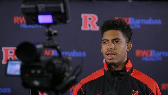 Rutgers' Corey Sanders is interviewed by reporters during Rutgers men's basketball media day at the RAC at Rutgers University in Piscataway, NJ Tuesday, November 1, 2016.