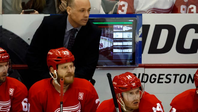 Red Wings coach Jeff Blashill during the first period against the Buffalo Sabres at Joe Louis Arena Tuesday.