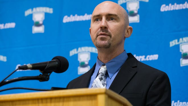 Craig Shaw speaking during a press conference after being introduced as Texas A&M Corpus Christi new head soccer coach on Thursday, jan 5, 2017.