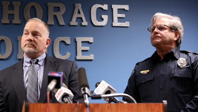 "Marlin Ritzman, FBI Special Agent in Charge, left, and Anchorage Police Chief Chris Tolley speak during a joint press conference by the FBI Anchorage Field Office and the Anchorage Police Department in Anchorage, Alaska on Saturday, Jan. 7, 2017. Santiago, a veteran, allegedly opened fire in a baggage claim area at Fort Lauderdale-Hollywood International airport on Friday, killing five people and injuring six more. Ritzman said Santiago was a ""walk-in with a complaint"" when he came to the FBI in 2016."