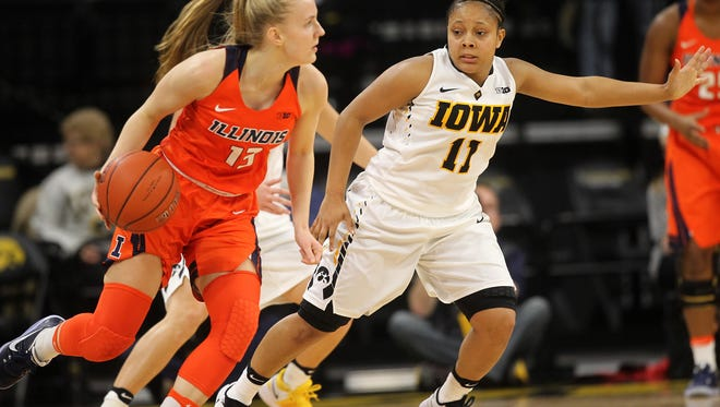 Iowa's Tania Davis guards Illinois' Petra Holesinska during their game at Carver-Hawkeye Arena on Wednesday, Jan. 11, 2017.