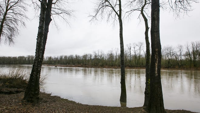 McLain Island can be seen across the banks of the Willamette River  near Pine and Front streets NE. The riverbank and the island could be the site of Salem's Third Bridge proposal, extending Pine and Hickory streets NE across the river to West Salem.