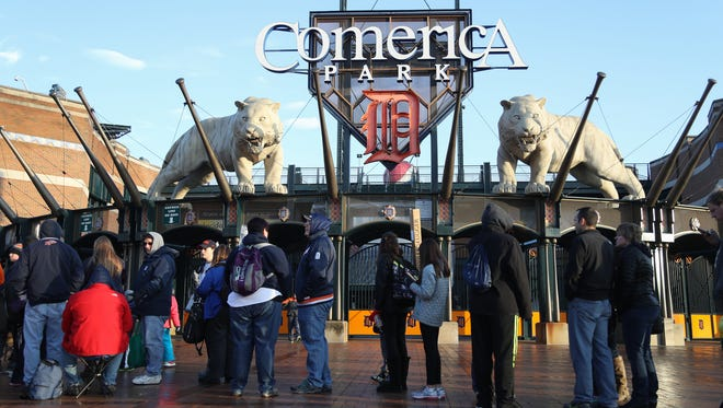 Tigers fans arrive for TigerFest Saturday, at Comerica Park.