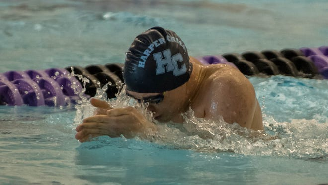 Harper Creek's Pablo Andreu competes in the 200 Yard IM during the 2017 All City Mens Swimming & Diving Meet on Saturday.