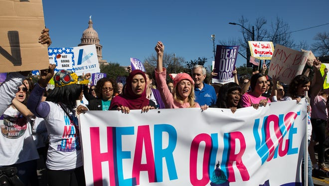 Former Texas state Rep. Wendy Davis leads the Women's March on Austin outside the state Capitol on Saturday, Jan. 21, 2017.