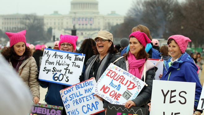 Some members of the '9 Ducklings' gather on the National Mall before The Women's March on Washington rally in Washington, D. C. on January 21, 2017.