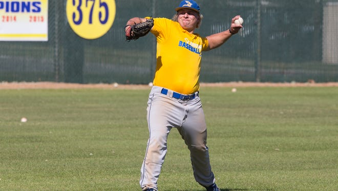 Texas A&M-Kingsville's Preston Plovanich throws during practice at Nolan Ryan Field baseball complex on Texas A&M-Kingsville campus on Tuesday, Jan. 28, 2017.