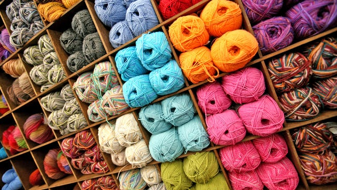 Colorful walls of yarn at the Mass Avenue Knit Shop, 862 Virginia Ave.