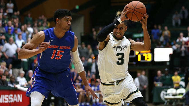 Rams guard Gian Clavell drives to the hoop during the Colorado State Rams' 79-76 loss to the Boise State Broncos on Tuesday Jan. 31, 2017, at Moby Arena in Fort Collins, Colo. (Photo by Brian Smith/for the Coloradoan)