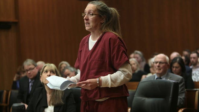 Jennifer Pruitt, 41, of Pontiac speaks in front of Oakland County Circuit Judge Martha Anderson during the re-sentencing hearing for her role in a 1992 robbery gone bad that led to the murder of a 75-year-old grandfather, Elmer Heichel, on Thurs., Feb. 9, 2017 at the Oakland County Courthouse in Pontiac.