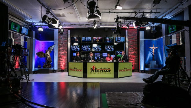 Panelists, from left, Bradley Eli, Michael Voris, Christine Niles and Simon Rafe during a live TV broadcast on Tuesday, January 31, 2017 at the Church Militant studios in Ferndale, MI.