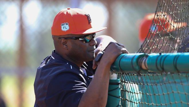 Detroit Tigers hitting coach Lloyd McClendon watches batting practice during spring training Friday, Feb. 17, 2017, in Lakeland, Fla.