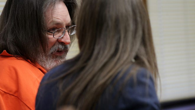 Steven Klein waits for his sentencing at the Johnson Courthouse on Friday, Feb. 17, 2017. Klein entered an Alford plea on charges of second-degree arson, willful injury causingserious injury and suborning perjuryin thedeath of Susan Kersten in 1995.