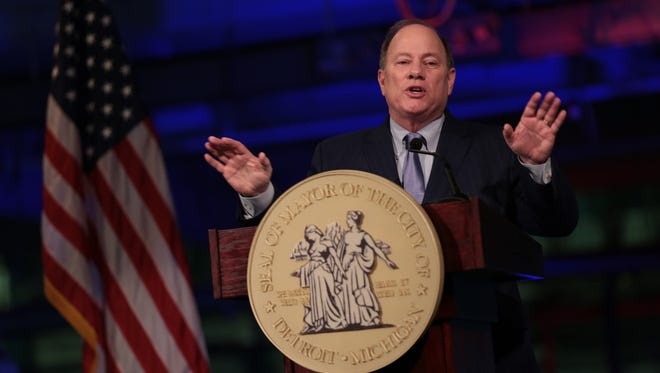 Detroit's Mayor Mike Duggan gives his 2017 State of the City address at Focus: HOPE on Tuesday in Detroit.