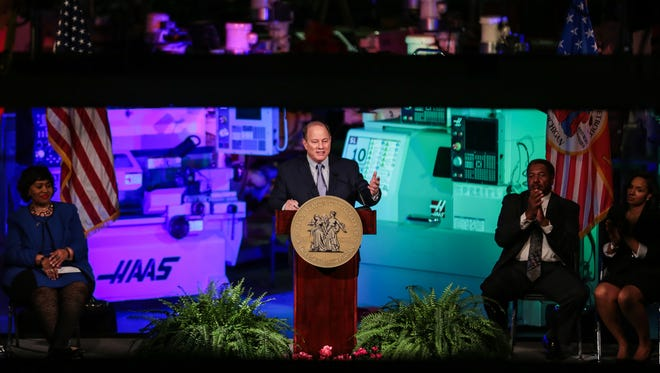 Detroit's Mayor Mike Duggan gives his 2017 State of the City Address at Focus: HOPE on Tuesday, February 21, 2017 in Detroit.