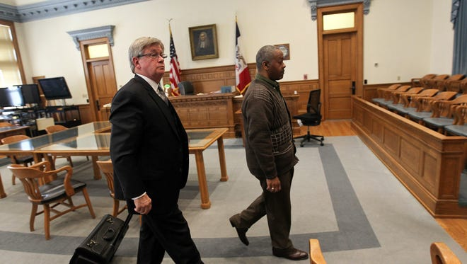 Anthony Burtch leaves the courtroom following his sentencing at the Johnson County Courthouse on Thursday, Feb. 23, 2017. Burtch was sentenced to 180 days in jail, with credit for 180 days already served, for obstructing prosecution in the 1985 death of Lance DeWoody.