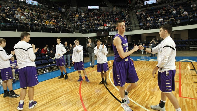 Muscatine's Joe Wieskamp is introduced prior to the Muskies' regional final against West High at the U.S. Cellular Center in Cedar Rapids on Tuesday, Feb. 28, 2017.
